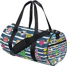 FANTAZIO Gym Duffel Bag Emoji Patches en Badges Patroon Mens Gym Duffel Bag