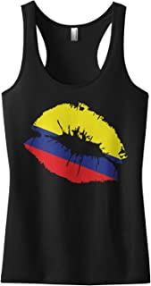 Threadrock Women's Colombia Flag Lips Colombian Kiss Racerback Tank Top