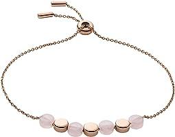 Ellen Rose-Tone Stainless Steel Rose Quartz Bracelet
