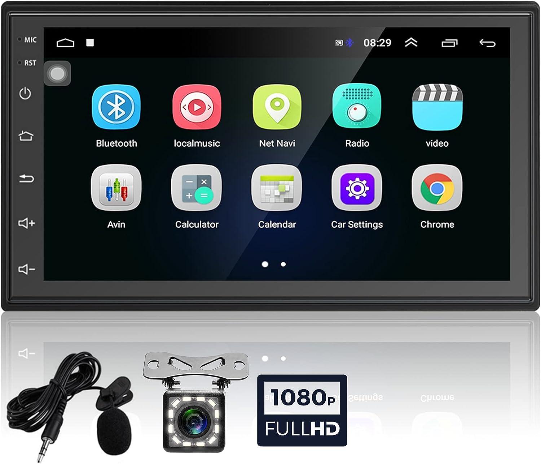 Podofo Radio de Coche 2 DIN Car Stereo Android GPS 16GB 6.8 Pulgadas Pantalla táctil Llamadas Manos Libres Bluetooth+WiFi+Navegación GPS+Cámara de Visión Trasera