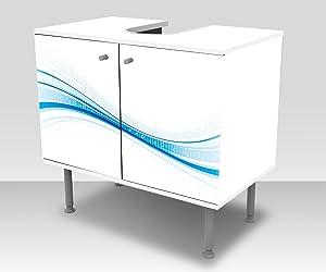 wandmotiv24 Badunterschrank Blaue Welle Designschrank Waschbeckenunterschrank M0312 Frontbeklebung Waschbeckenunterschrank
