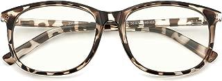 Slocyclub Unisex Blue Light Blocking Glasses Oversized Non-prescription Glasses Round Clear Lens Eyeglasses
