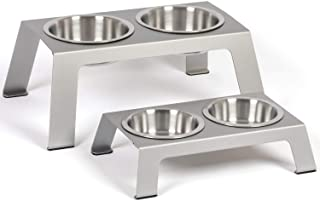 """PetFusion Elevated Dog Bowls, Cat Bowls - Premium Anodized Aluminum Feeder (Short 4""""). Us Food Grade Stainless Steel Raise..."""