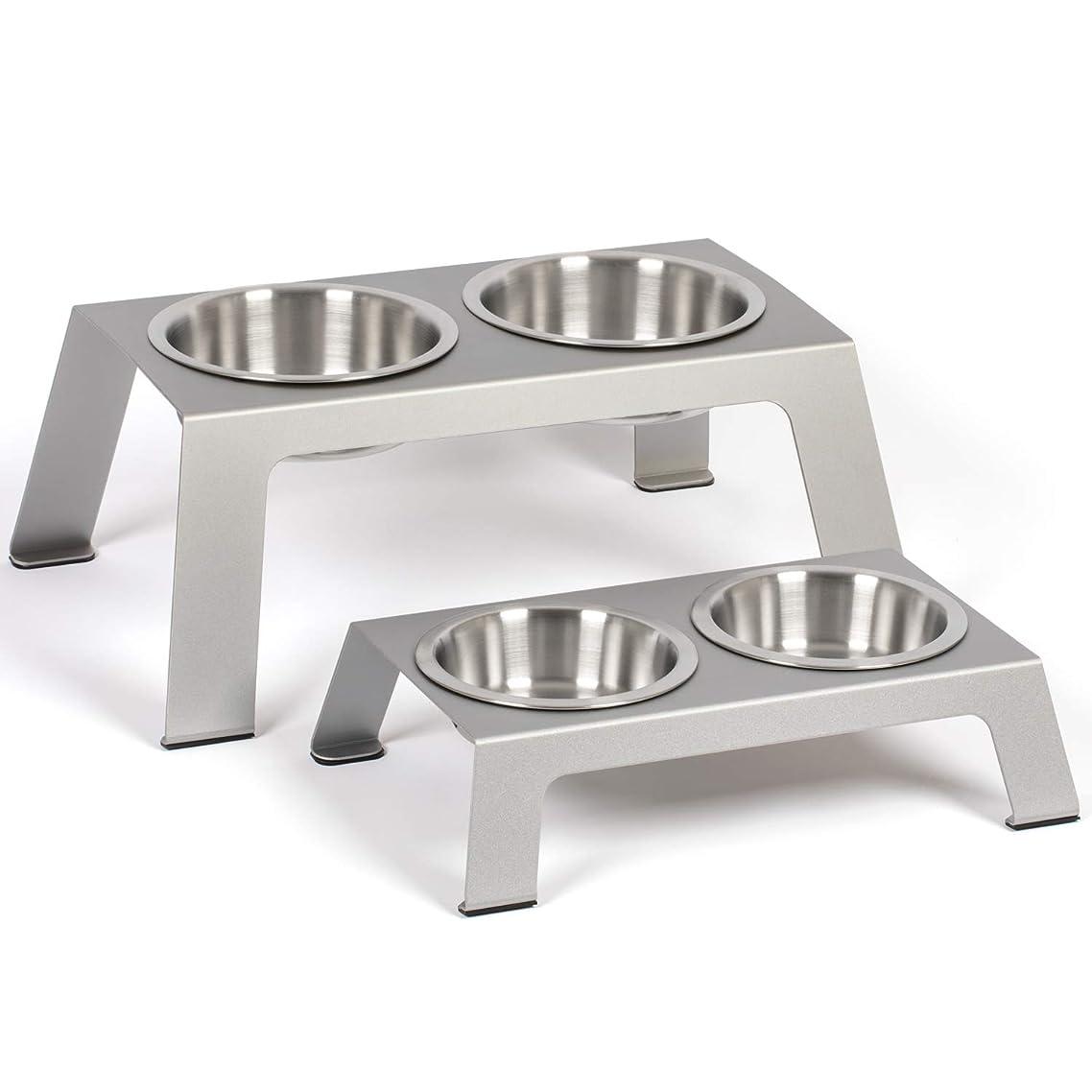 PetFusion Elevated Dog Bowls, Cat Bowls -- Premium anodized Aluminum feeder (Short 4