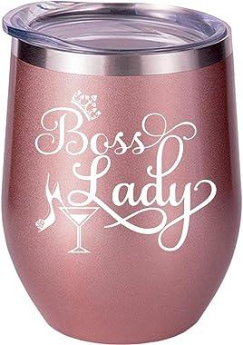 Jefe regalos para mujeres, jefe dama, regalos divertidos para jefe, regalos de Navidad, cumpleaños, copa de vino