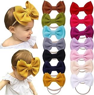 Baby Girls Nylon Elastic Headbands Soft Flower Leather Bow Hair Band for Infant Toddler kids