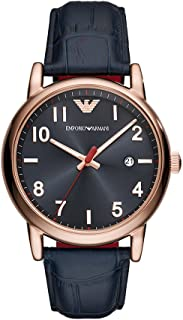 Emporio Armani Men's Stainless Steel Quartz Watch with Leather Calfskin Strap, Blue, 22 (Model: AR11135)