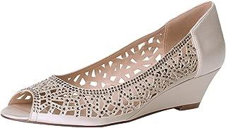 Women Peep Toe Low Heel Wedding Wedges Sparkle Rhinestone...