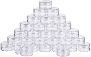30 Pack 15ML Empty Clear Plastic Bead Storage Container jar with Rounded Screw Top Lids for Beads Nail Art Glitter and Travel Cream