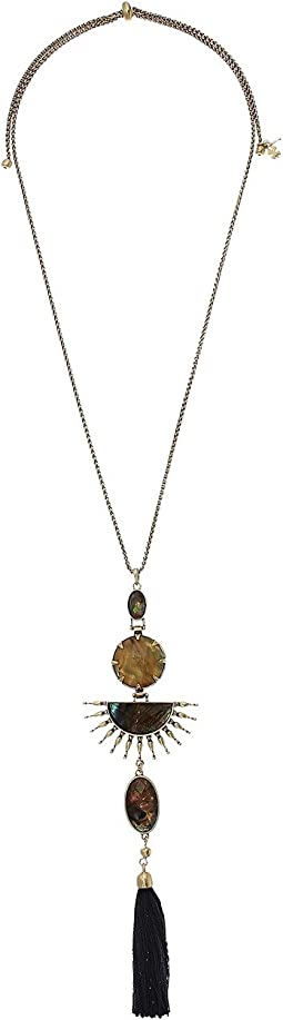 Lucky Brand - Sunburst and Fringe Pendant Necklace