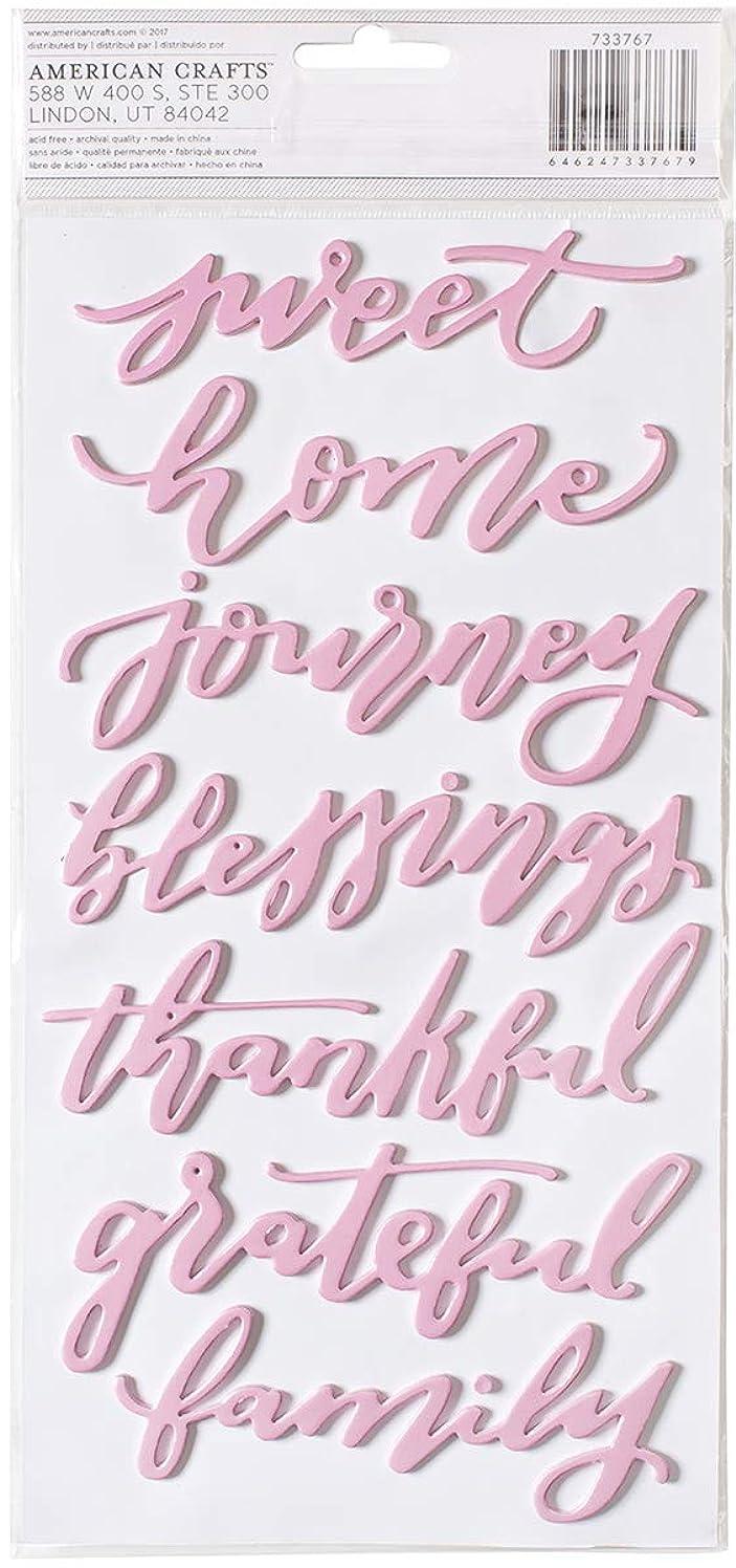American Crafts Jen Hadfield Heart of Home 21 Piece Pink Foil Foam Word Thickers