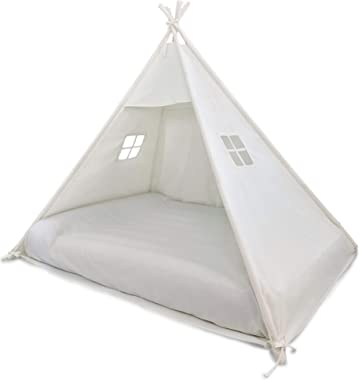 Domestic Objects | Play Tent Bed Canopy | Teepee for Mattress | 100% Cotton Canvas | Premium Quality (Double/Full No Door) (W