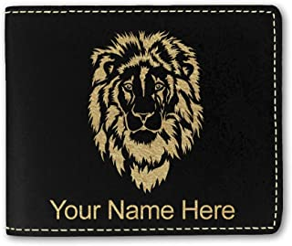 Faux Leather Wallet, Lion Head, Personalized Engraving Included