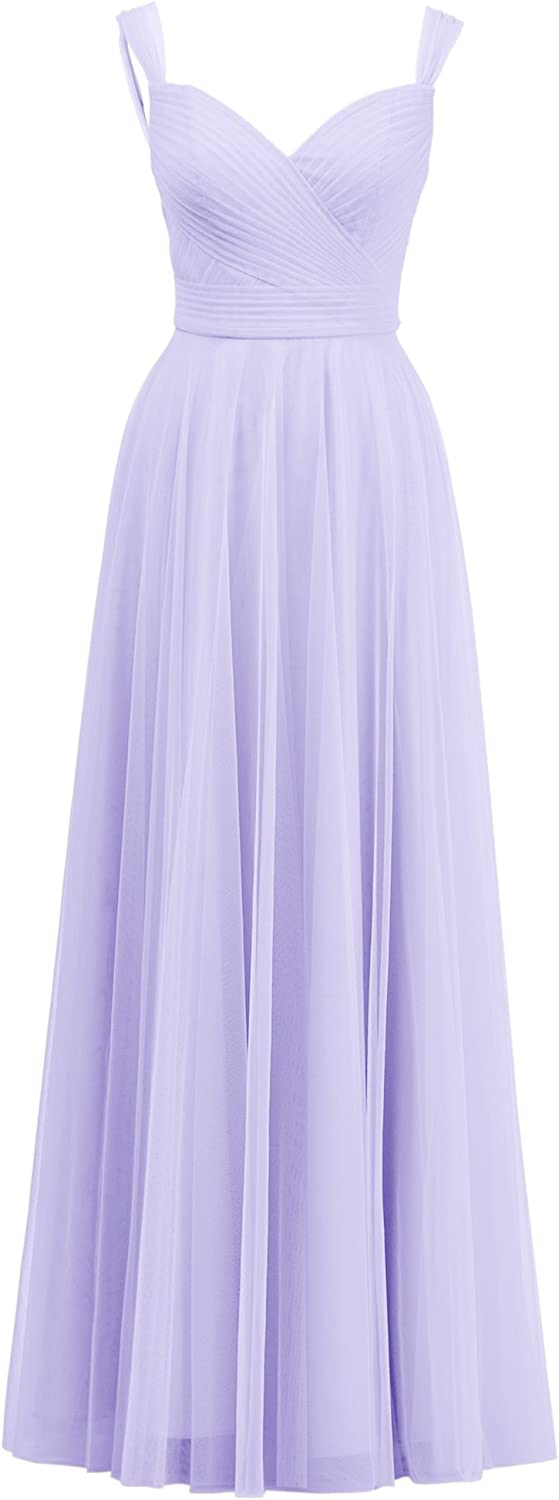 Alicepub ALine Tulle Bridesmaid Dress Women's Long Prom Evening Gown Sweetheart