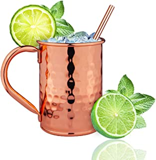 Moscow Mule Copper Mugs-100% Handcrafted- - Food Safe Pure Solid Copper Mugs- Use as Copper Tumbler, Mint Julep Cup, Coffee Mug, Ice Cream Cup, Fries Bowl, Copper Cup for Cold Beverage (14OZ)