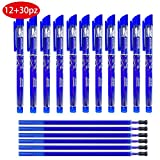 Kit 42packs 12pz Penne Cancellabili Blu Punta Stabile 0.5 mm + 30pz Ricariche per Penne
