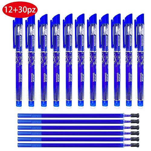 Gudotra 12pcs Bolígrafos Borrables + 20 Recargas Azules Recargas de Bolígrafos Borrables Punta de 0.5 mm (Estilo6-12pz Bolígrafos+20 Recargas Azules)