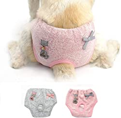 Stock Show 2Pack Female Dog Diaper Cute Bowknot&Cat Decor Elastic Waist Soft Cotton Sanitary Physiological Shorts Pants Small Medium Girl Puppy Panties Underwear