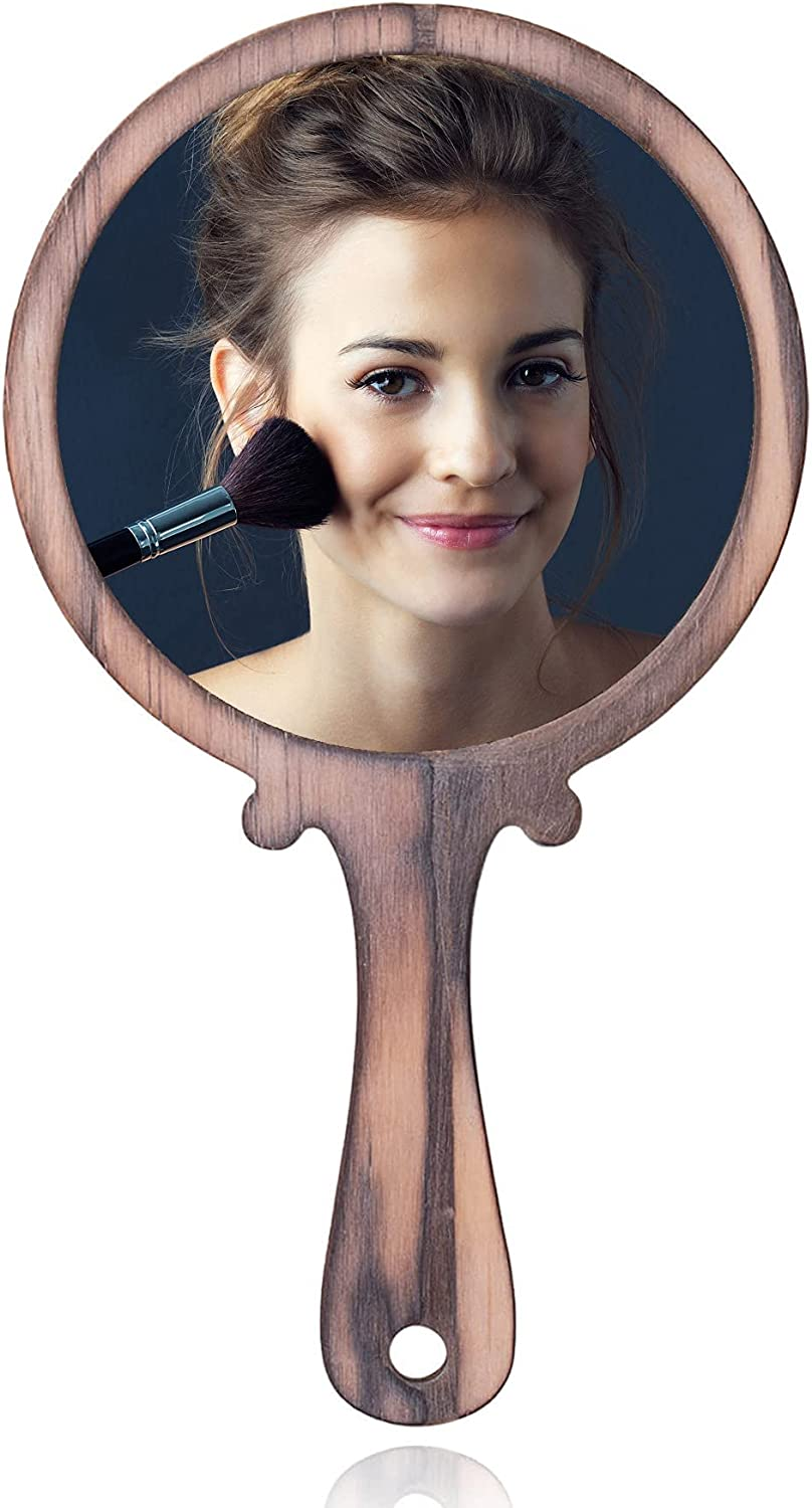 Mesa Mall OKQ Tabletop Makeup Hand Mirror - Sale item 8 Wooden Inch Vintage Portable