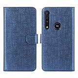 CRESEE Motorola One Macro Hülle, PU Leder Schutzhülle mit 3 Kartenfächer, Hülle Tasche Magnetverschluss Flip Cover Standfunktion Stoßfest Brieftasche Handyhülle für Moto One Macro (Blau)