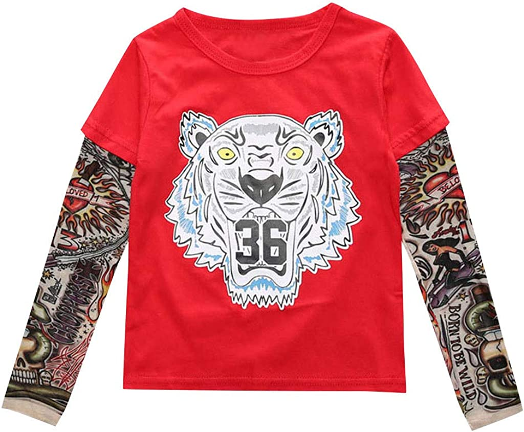 Fheaven Unisex Baby Kids Boys Cotton Long Sleeve T-Shirt with Mesh Tattoo Printed Sleeve