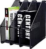 revistero archivador de malla metálica/Organizador de escritorio revistero estante escritorio 3 Compartimentos (negro)