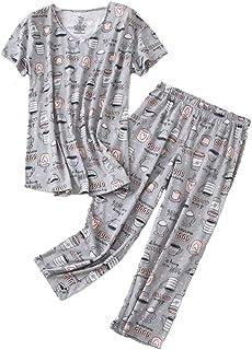 Women's Pajama Sets Capri Pants with Short Tops Cotton...