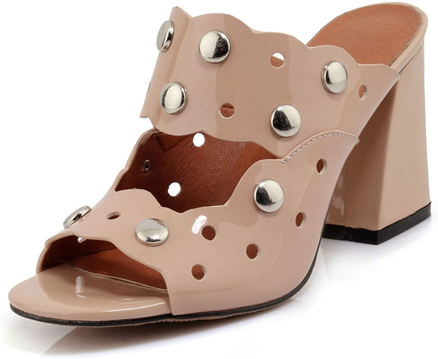 Longbao Classic Vintage Rome Women Sandals 2019 Metal Decoration Hollow Peep Toe Square Heeled Casual Wedding shoes Woman