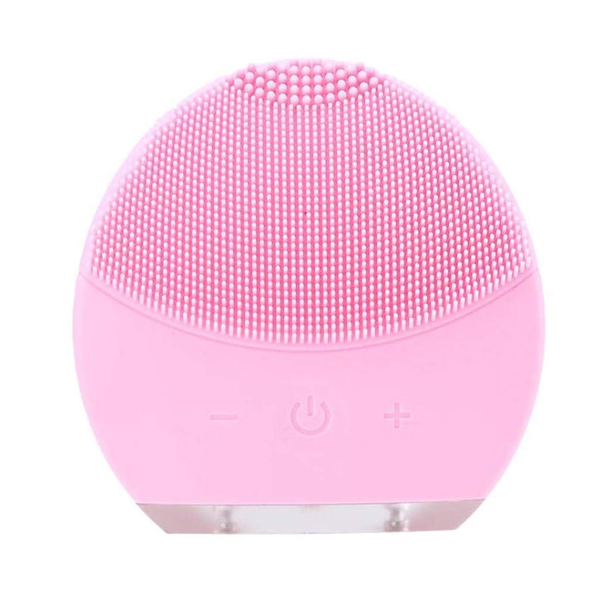 ディレイ変更強要超音波振動美容機器洗浄器、皮膚の毛穴を最小限に抑えるマイクロダーマブレーション毛穴、USB 充電と防水,Pink