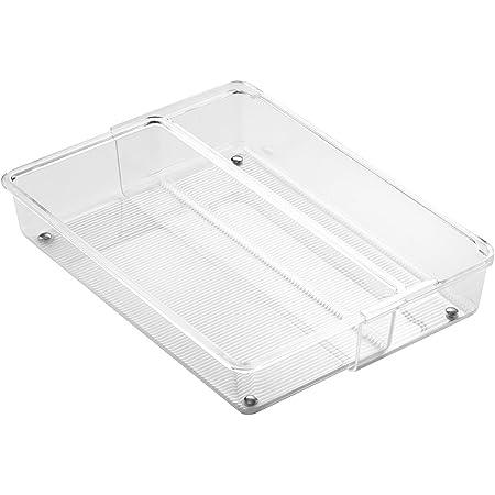 cubertero para cajones de cocina mediano en pl/ástico InterDesign Linus Organizador de cajones transparente juego de 2 cuberteros para caj/ón