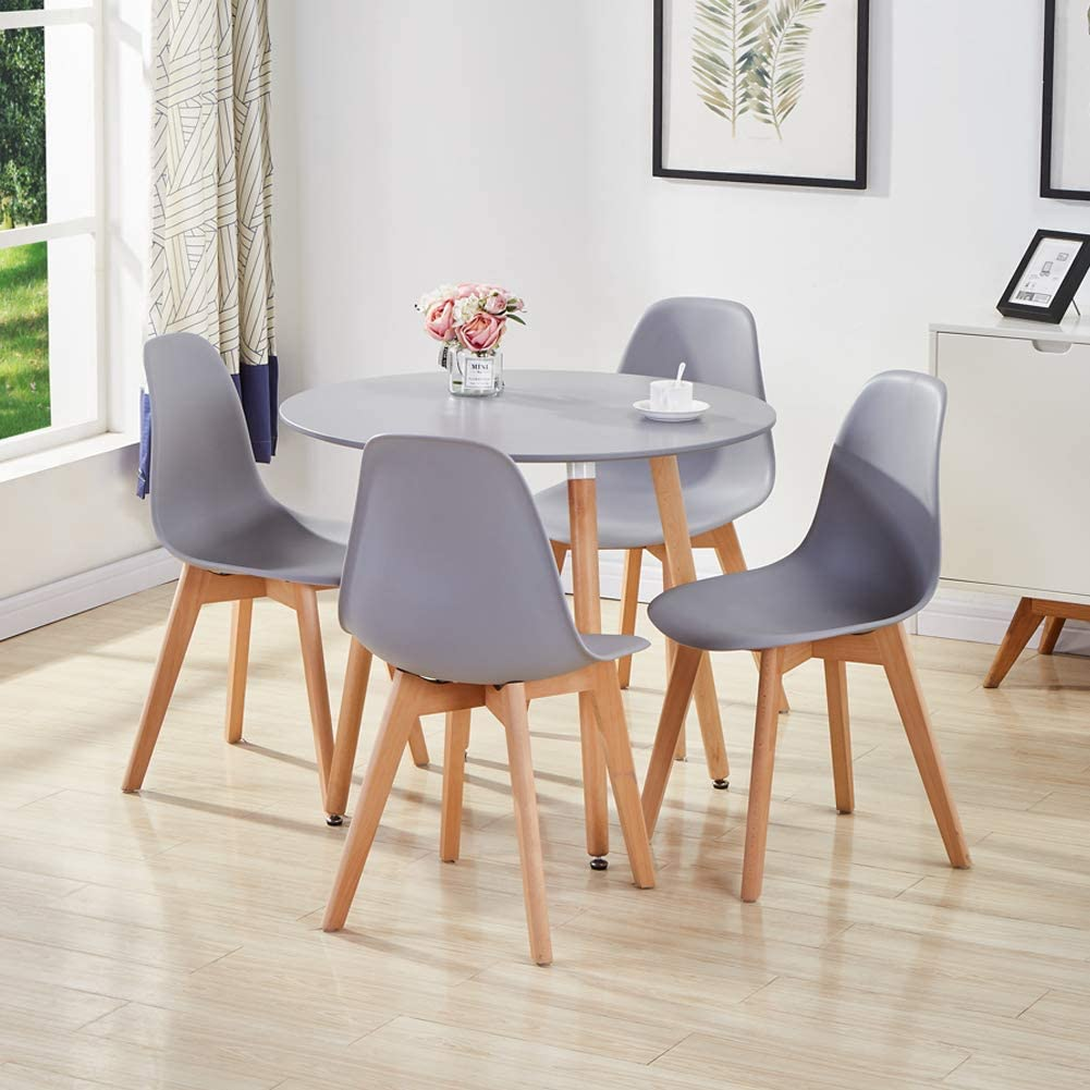 GOLDFAN Dining Room Set Dining Table and Chairs Set 9 Modern Round Kitchen  Table Wood Style All Grey