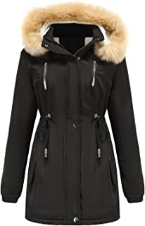ReooLy Women's Long Sleeve Jacket With Hood And Cord Autumn Winter Leisure Fashion Solid Color Coat With Plush Hood Hooded...