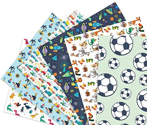 Friendly Fox Kinder Geschenkpapier - 6 Bögen Geschenkpapier für Jungen - Motiv-Papier für Geschenke - Geschenkpapier Kinder Junge - Geschenkverpackung Kindergeburtstag