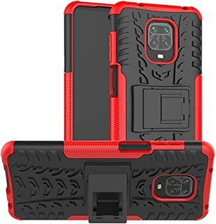 Redmi Note 9 Pro Case, Ikwcase Heavy Duty Armor Tough Hybrid Shockproof Dual Layer Kickstand Protective Case Cover for Xiaomi Redmi Note 9S / 9 Pro / 9 Pro Max Red
