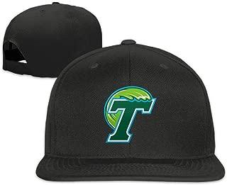 WHROOER Tulane Green Wave Logo Unisex Adjustable Flat Fitted Hat Baseball Cap Black