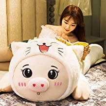 AHYYY Juguete de figurita de Cerdo Queen Bed Doll Strips Almohada Piglet Doll Lindo Super Lindo Regalo de cumpleaños,Ojo Redondo Blanco 2 Metros