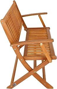 Deuba Gartenbank | klappbar FSC®-zertifiziertes Eukalyptusholz | 2 Sitzer Garten Holz Bank Parkbank Balkonbank Terrasse
