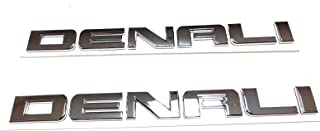2pcs Replacement Glossy Denali Nameplate Emblems Hd Badge for Gm 07-16 Yukon Sierra Terrain … (Chrome)