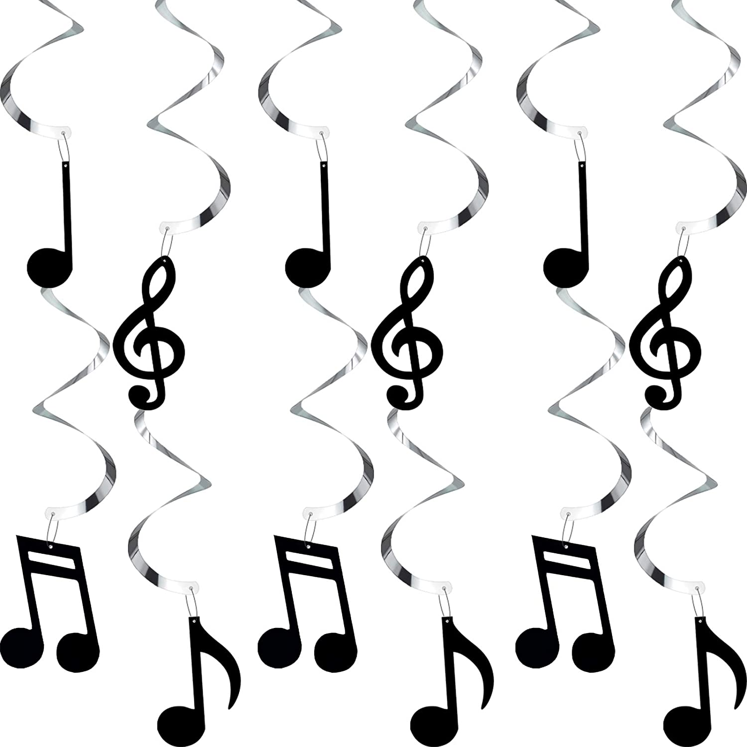 Zonon 25 Pieces Musical Note Hanging Swirl Music Foil Whirl Theme Party Decoration Cutout Spiral for Wedding Baby Shower Birthday Party Supplies (Black)