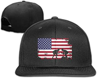 Men/Women Outdoor American Flag Wrestling Flat Bill Plain Snapback Hat Adjustable Trucker Baseball Cap Bill Visor