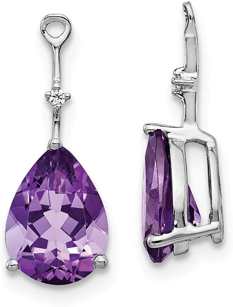 FB Jewels Solid 14K White Gold Diamond and Amethyst Earring Jackets
