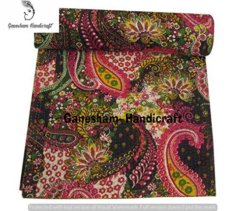 Couverture indienne hippie bohémienne à motif floral indien fait à la main, couvre-lit bohème Kantha, couvre-lit, couverture indienne, couvre-lit en coton, literie Kantha, couvre-lit vintage Kantha