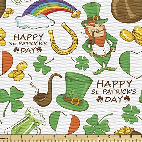 Ambesonne St. Patrick's Day Fabric by The Yard, Irish Party Pattern Beer Leprechaun Flag Hearts Rainbow Gold Shamrock, Decorative Fabric for Upholstery and Home Accents, 1 Yard, Shamrock Green