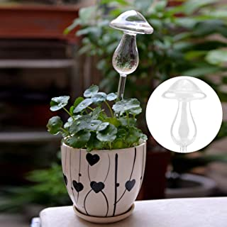 Delaman Watering Globe Creative Mushroom House Plants Flowers Automatic Self Watering Globes/Bulbs Clear Glass Water Feeder