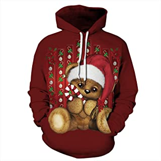 Christmas Santa Claus Snowman Printed Loose Hoodie Sweatshirt Ladies Casual Hooded Pullover Shirt Tops Blouse Women's Autumn Winter Coat Outwear Unisex