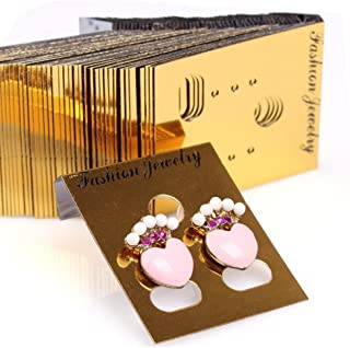 200pcs Plastic Jewelry Earring Display Cards Ear Stud Packaging Hanging Cards Price Tags 37x30mm (Gold)