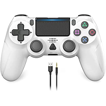 GameControllerforPS4,YCCSKY1000mAhWirelessControllerforPS4/PS4Slim/PS4ProConsolewithShareButton/ErgonomicDesign/VibrationFunction (White)