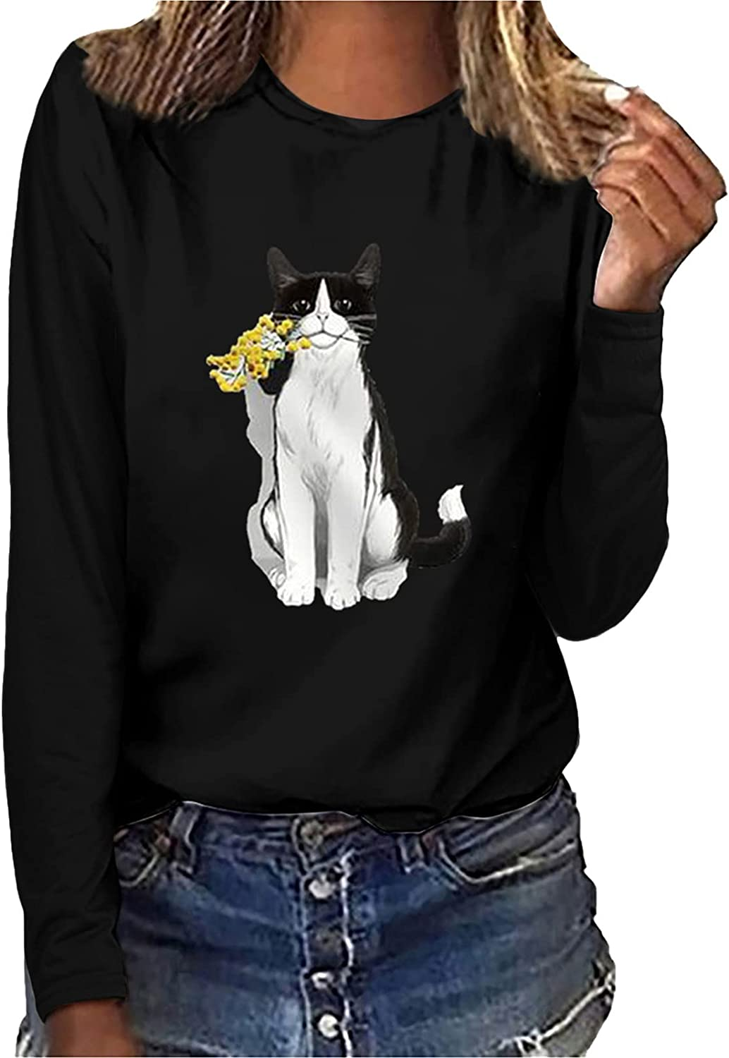 Graphics Tops for Women Long Sleeve Tshirts Casual Sunflower Printing Pullover Tops Loose Sweatshirt Blouse