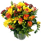Clare Florist Rose and Freesia Fresh Flower Bouquet - Beautiful Roses and Freesia Flowers Arranged by Florists