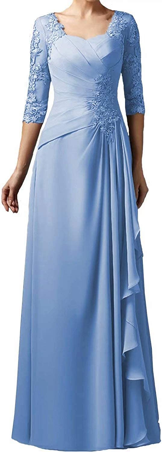 Women's 3 4 55% OFF Sleeve Appliques Chiffon Long Soldering Mother Plus of Br Size
